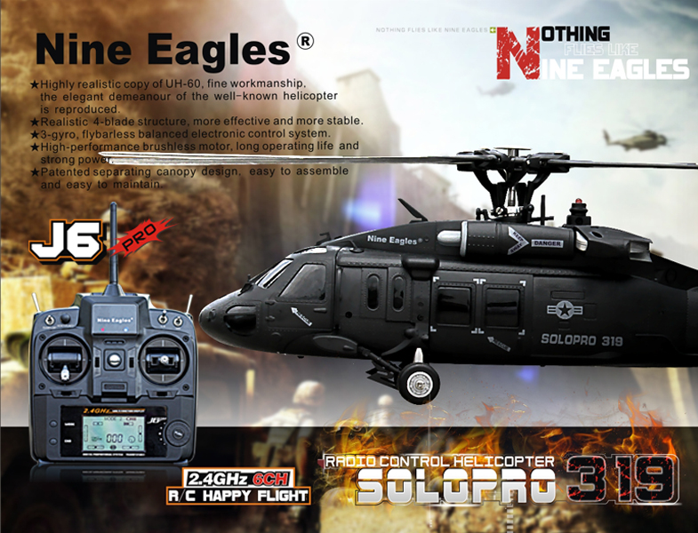 RTF Nine Eagles Solo Pro 319a UH-60 Blackhawk Realistic RC Helicopter