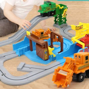 """Busy Construction Site""- Hot selling, 3+ years old Child Challenge brain with hands-on toy, (Role-play of construction vehicle dispatching track vehicles toy)"