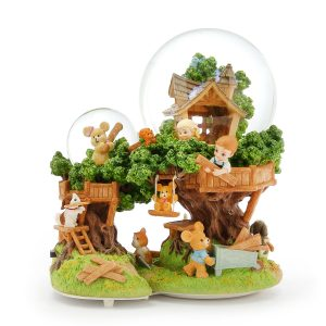"""Our Tree House Base""- Children's fairy tale tree house scene Snow Globe Music Box (Musical Box Water Globe / Snow Domes Christmas Collection)"