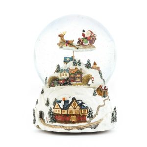 """Jingle bells"" Flying Santa Claus and Christmas Train Snow Globe Music Box (Musical Box Water Globe / Snow Domes Christmas Collection)"