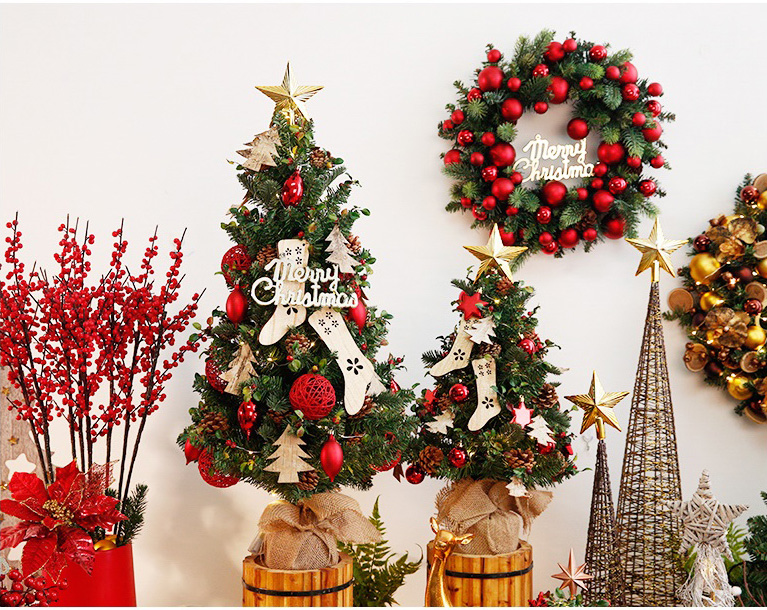 15in, 25in, 35in, 3FT, Pre-Lit Mini Feel Real Artificial Christmas Trees with Clear Lights, Top Star, with Pine cone, Christmas star, Christmas balls ornaments