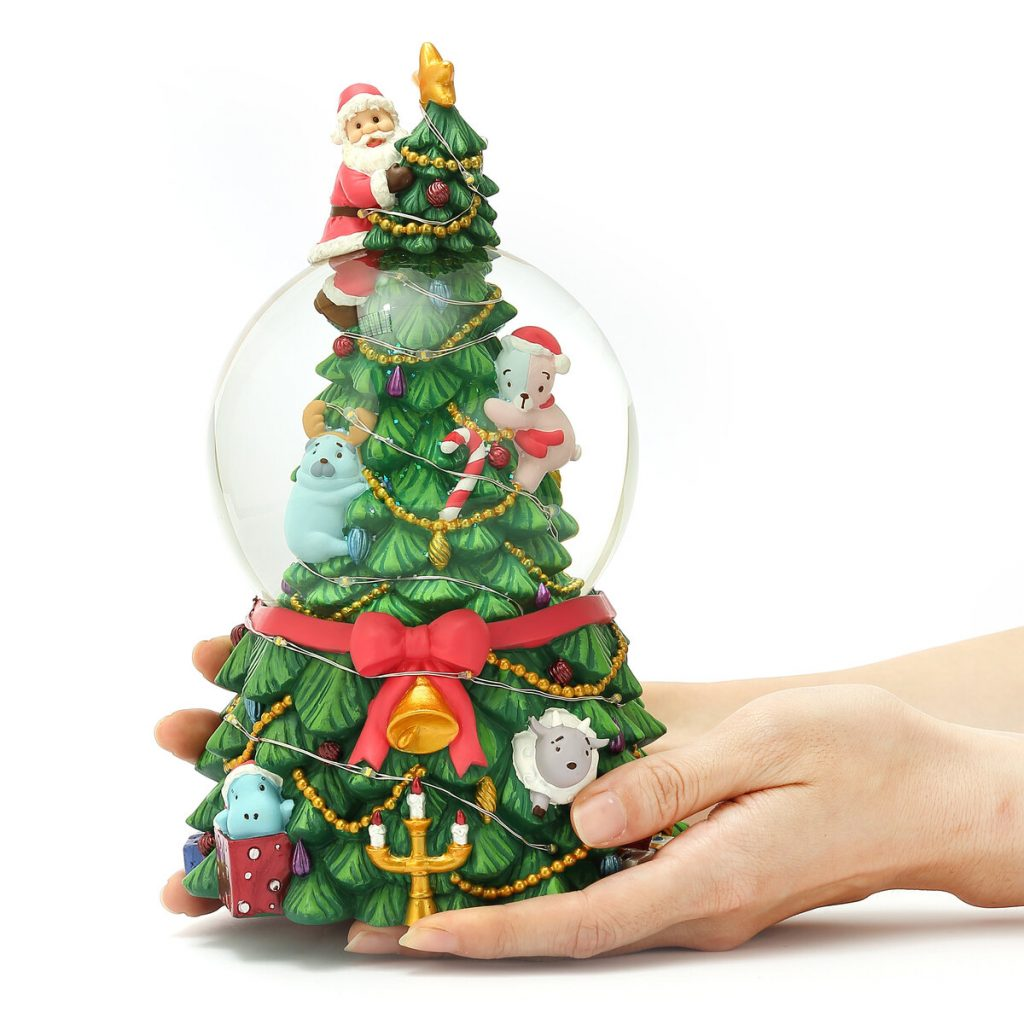"""O Tannenbaum"" Santa Claus & Christmas tree Snow Globe Music Box (Musical Box Water Globe / Snow Domes Christmas Collectible)"