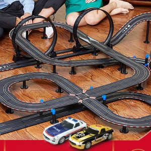 Top-Racer AGM ASR Series (ASR-07) Slot Car Racing Set Kits. 1/43 Scale Model Car 15.4 Meters Track Layout Slot Car Racing Set
