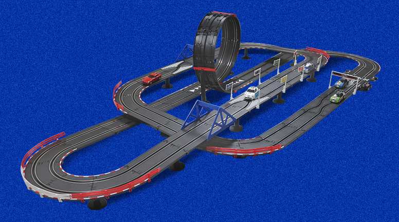 "-""Slot Car Racing Set Kits""- 10 Meters Top-Racer AGM TR Series (TR-08) Slot Car 3 Kinds Track Layout Set, (Educational Toys, Design and build remote control toy car track)"