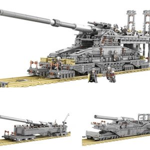"1:72 WWII German ""Schwerer Gustav"" Heavy Gustav Dora Railway Gun Scale Model Building Blocks (Also Contains the Krupp K5(E) Leopold & TM-3-12 Railway Gun Assembly instruction manual)"