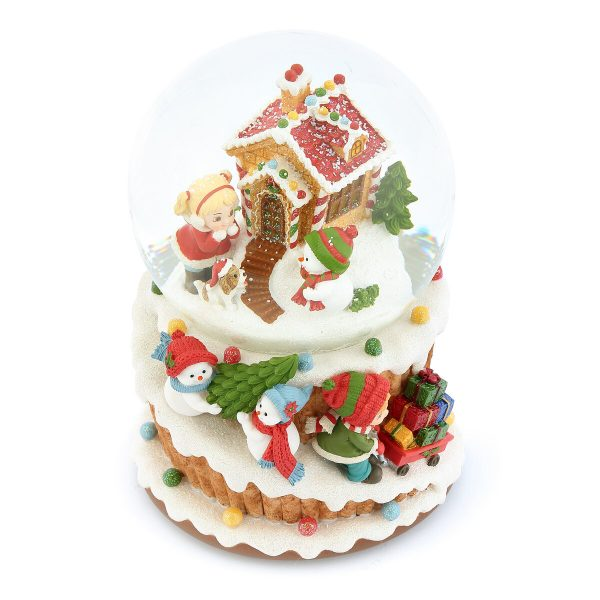 Gingerbread House & Christmas Candy cart & Cute Snowman, Sweet cake Music Snow Globe (Musical Box Water Globe / Snow Domes Christmas Collection)