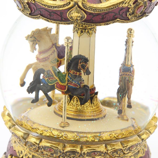 "Gorgeous ""European style"" ""Antique style"" Carousel (Merry-Go-Round) Music Snow Globe (Musical Water Globe), Charming classical atmosphere."