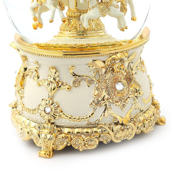 Gorgeous golden Carousel Music Snow Globe, Classical pattern decoration, (Musical Box Water Globe / Snow Domes) For Decorative Collectibles, Gifts / Present.