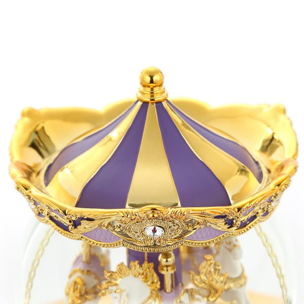 "Romantic Purple Color Carousel (Merry-Go-Round) Music Snow Globe, Classical golden pattern, Inlaid with sparkling ""Crystal Diamonds"", Globe Automatic snow With light, (Musical Box Water Globe / Snow Domes) For Decorative Collectibles, Gifts / Present."