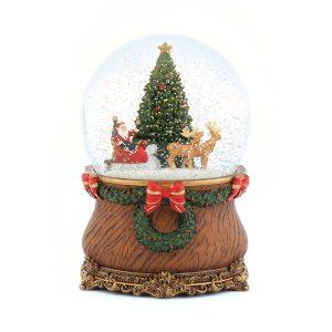 Santa claus riding reindeer christmas sleigh & Green Christmas tree classical Music Snow Globe (Musical Box Water Globe / Snow Domes Christmas Collection)