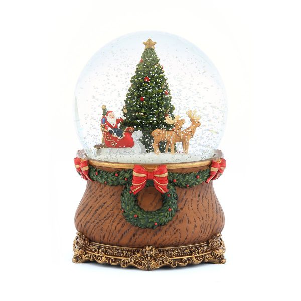 Santa claus riding reindeer christmas sleigh & Green Christmas tree classical Music Snow Globe (Musical Box Water Globe / Snow Domes Christmas Collection)
