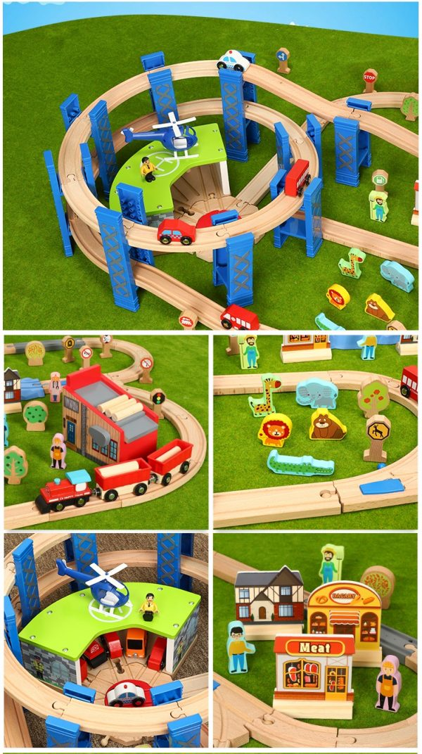 "-""Wooden Train Set & Wooden Train Tracks""- 120cm x 70cm Large Size Wooden Railway Rich Kits Scenes, (Lumber mill Transport line, Apron, Winding mountain road)"