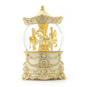 luxurious Gold Color Carousel (Merry-Go-Round) Music Snow Globe Automatic snow With light, (Musical Box Water Globe / Snow Domes) For Decorative Collectibles, Gifts / Present.