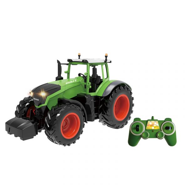 RC Farm Tractor Toy & Tractor Dump Trailer & Twin-Rotor Rotary Rake Electric Remote Control Farm Toy. (Agricultural Machinery, Equipment Scale Model, Farm Vehicle Toy)