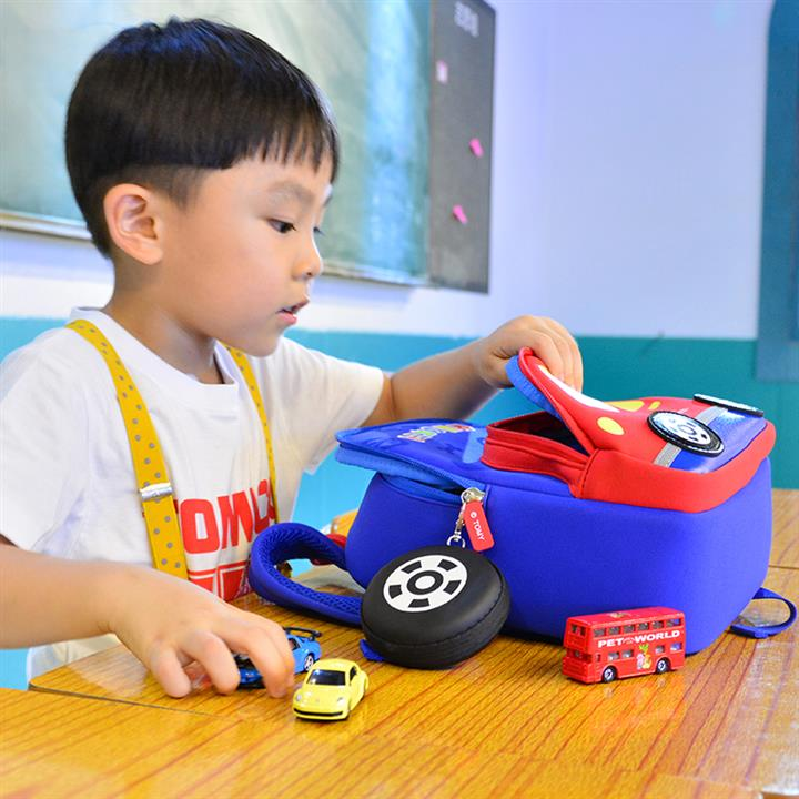 "11"" Blue Bottom TOMICA Cartoon Red Car Pattern Kid & Children, Girl & Boy Waterproof Backpack School Bag With Wheel Style Coin Purse"