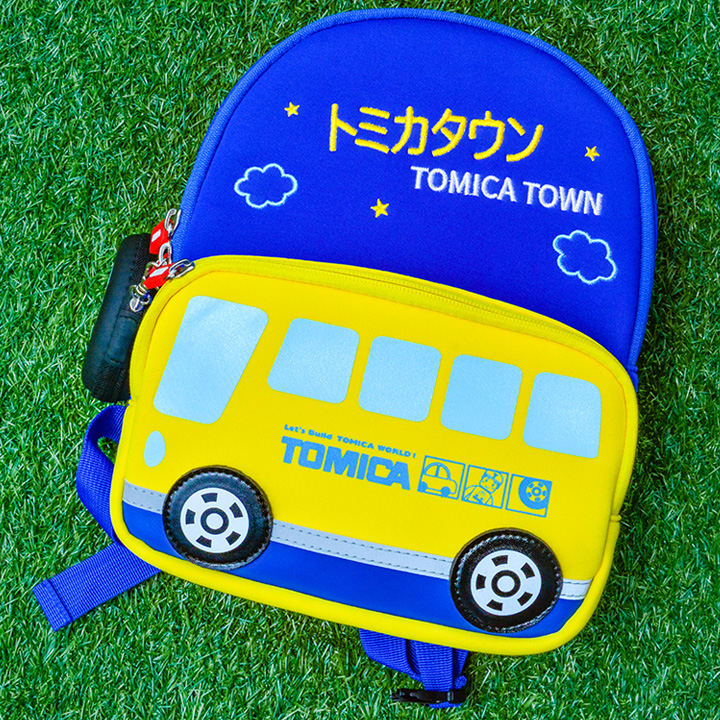 "11"" in Yellow Blue Bottom TOMICA Cartoon School Bus Vehicle Pattern Kid & Children, Girl & Boy Waterproof Backpack School Bag With Wheel Style Coin Purse"