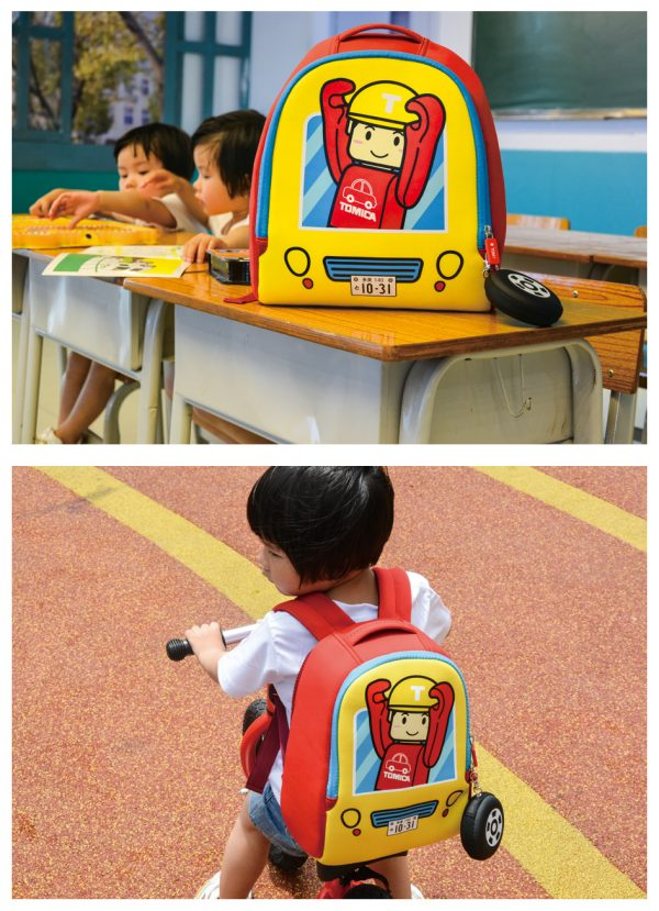 Yellow Red Bottom TOMICA Cartoon Engineer Man, Engineering Vehicle Cab Pattern Kid & Child, Girl & Boy Backpack School Bag With Wheel Style Coin Purse