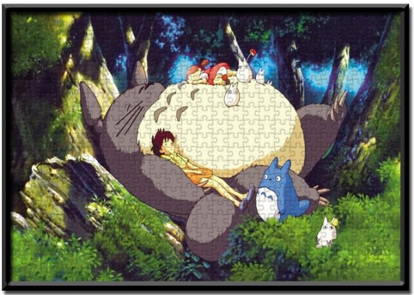 1000 Pieces Wooden Jigsaw Puzzle Hayao Miyazaki My Neighbor Totoro sleeping on the tree sophisticated Jigsaw puzzle for adults brain teaser game picture Puzzle pieces Japanese animated jigsaw pieces