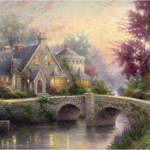 1000 Pieces sophisticated Landscape painting Wooden Jigsaw Puzzle for adults Creekside Villa In the morning mist Jigsaw pieces picture Puzzle pieces brain teaser game