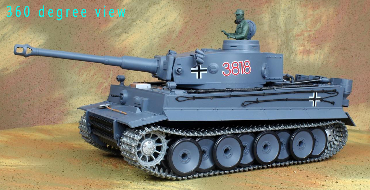 360 degree view of Heng-Long 3818-1 Tiger 1 / Tiger I RC Tank, Metal Track, Metal Sprocket Wheel, Metal Guide Wheel, Metal Gearbox Edition.