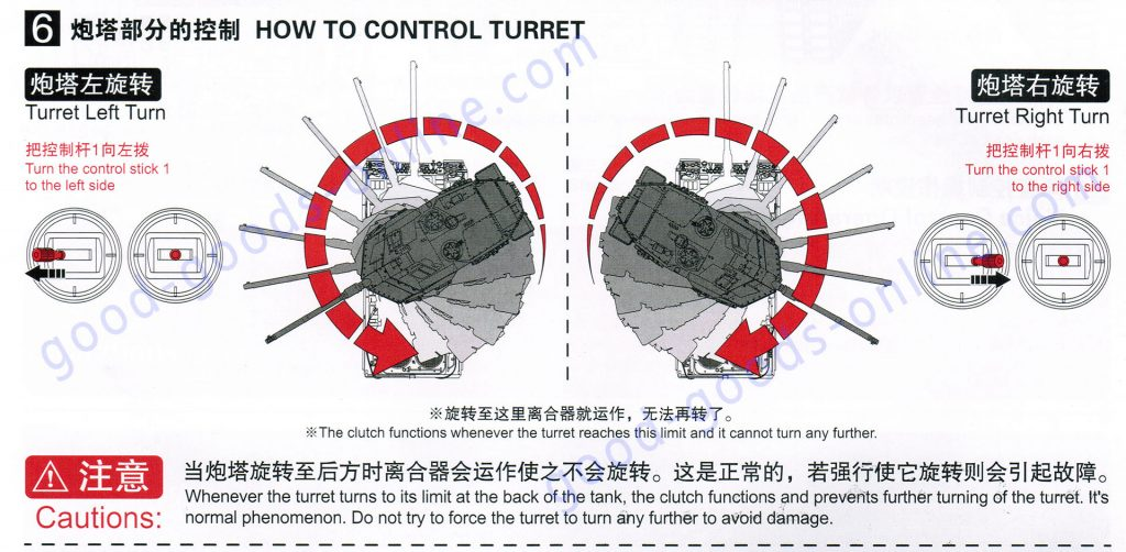 Heng-Long Remote Control Scale Model Tank 6 version series Turret rotation functions