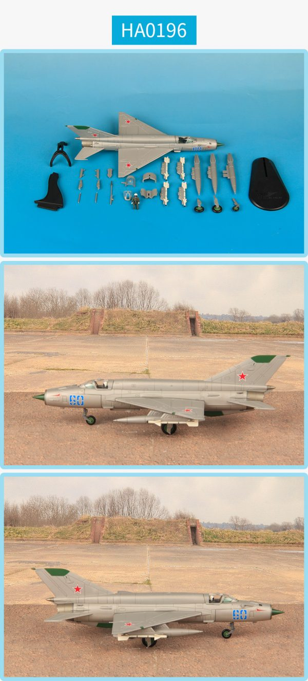 Hobby Master Collector 1/72 Air Power HA0196 Soviet Air Force Mikoyan-Gurevich MiG-21 Jet Fighter & Interceptor Aircraft, MIG-21SMT Blue 60, 296 IAP, Soviet AF, 1980 (Military Airplanes Diecast Model, Pre built Aircraft Scale Model)