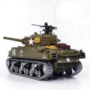 Heng-Long 3898-2 M4A3 Sherman RC Tank Metal Road Wheels, Metal Suspension System, Metal Tank Track, Metal Sprocket Wheel, Metal Guide Wheel, Metal Gearbox Edition, World War II United States Medium Tank M4 Sherman 1/16 Scale Model Remote Control Tank.