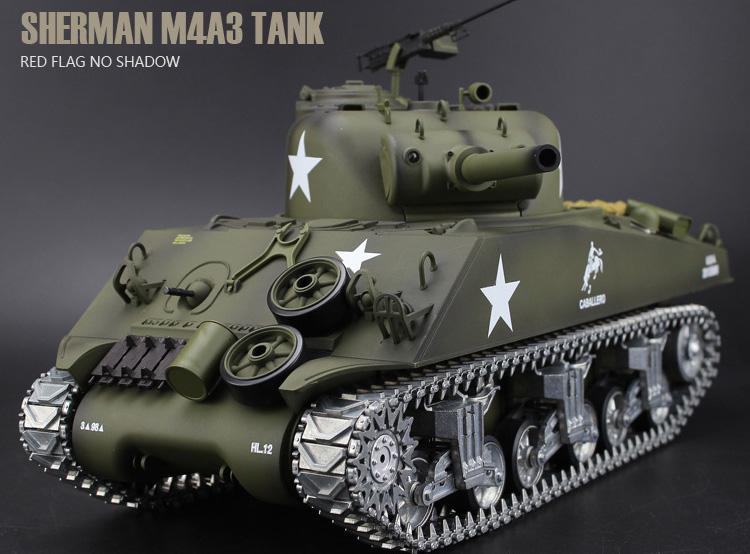 Heng-Long 3898-2 M4A3 Sherman RC Tank Metal Road Wheels, Metal Suspension System, Metal Tank Track, Metal Sprocket Wheel, Metal Guide Wheel, Metal Gearbox Edition, World War II United States Medium Tank M4 Sherman 1/16 Scale Model Remote Control Tank.