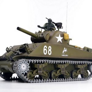 Heng-Long 3898-1 M4A3 Sherman RC Tank Metal Track, Metal Sprocket Wheel, Metal Guide Wheel, Metal Gearbox Edition, World War II United States Medium Tank M4 Sherman 1/16 Scale Model Remote Control Tank (Toy Tank, Military Vehicle Toy)