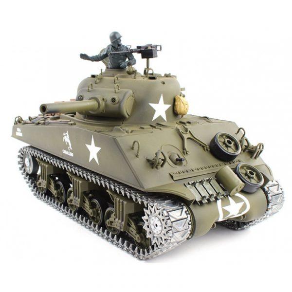Heng-Long 3898-1 M4A3 Sherman RC Tank Metal Track, Metal Sprocket Wheel, Metal Guide Wheel, Metal Gearbox Edition, World War II United States Medium Tank M4 Sherman 1/16 Scale Model Remote Control Tank (Toy Tank, Military Vehicle Toy)