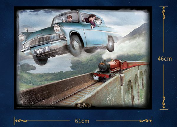Cubicfun Toys Jigsaw Puzzles of Harry Potter and Ronald Weasley drive The Flying Car Fly over red Jacobite Steam Train and Glenfinnan viaduct in Harry Potter and the Chamber of Secrets scene