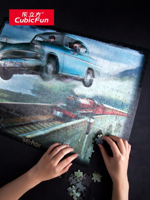 Harry Potter Ronald Weasley Blue Flying Ford Car, Red steam train, Hogwarts Railway viaduct, Harry Potter and the Chamber of Secrets Film clips 3D Jigsaw Puzzle image