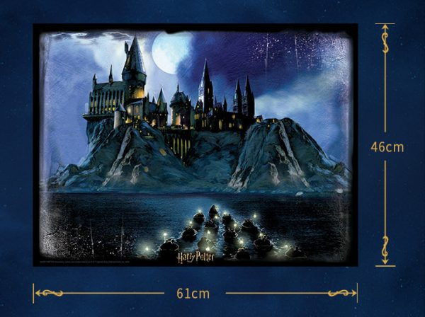 Harry Potter and the Philosopher Stone Movie Scene First years travelling across the Black Lake on boats to Hogwarts Castle Cubicfun Toys Cubic-Fun E1616H 500 Pieces Paper Jigsaw Puzzles