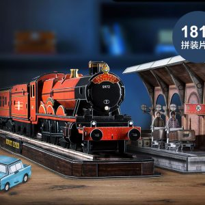 """Hogwarts Express Set"" 181 Pieces Cubicfun (Cubic-Fun DS1010h) 3D Paper Puzzle, Harry Potter Movie Classic Shot Paper Set (Platform Nine and Three-Quarters ""Platform 9 3/4"", Hogwarts Railways, Harry Potter and Ronald Weasley, Flying Ford Anglia)"