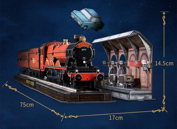 Harry Potter Movie clip Harry Potter and Ronald Weasley board the Hogwarts Express to attend Hogwarts School of Witchcraft and Wizardry school Platform Nine and Three-Quarters Paper Puzzle Set