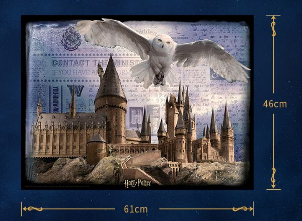 Harry Potter collection painting 3D-look Paper Puzzles 3D Image Lenticular Printing Jigsaw Puzzles Hedwig flew over Hogwarts Castle Cubicfun Toys Cubic-Fun E1615H