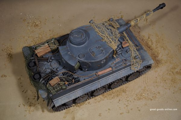 """1/16 Scale Tiger I RC Tank Custom Painting, (G.Goods. Tank Art, Completed on April 13, 2020). """"German Grey Tank Colour"""" Slight Rust Weathering Effect, General Wear And Tear, Minor Damage, Bullet Hole"""