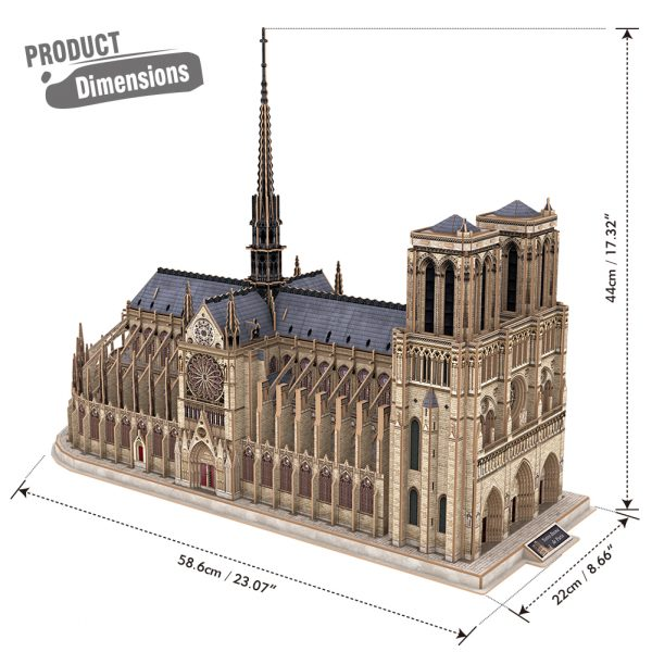 Notre-Dame de Paris 3D Paper Jigsaw Puzzle Building Architectural Scale Model French Gothic Architecture Handicrafts Gothic Cathedral Catholic Cathedral Collectibles Ornaments