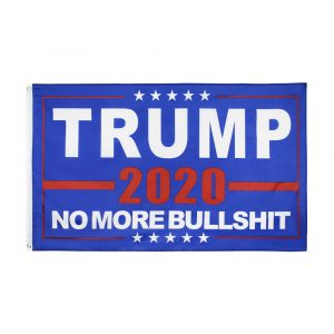 """TRUMP 2020 NO MORE BULLSHIT"" Donald Trump 2020 Presidential Campaign Flag, Trump Campaign Slogan & Logos & Poster & ads & Banners. (3FT x 5FT, 90cm x 150cm, 35in x 59in) Blue Background, White Text, Red 2020, White Stars, Red lines"