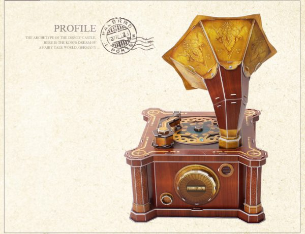 DIY Paper Kits Retro Victor V Phonograph, Victor-Victrola Record Player Music Box, Early 19th century Classical 1907 Style Victor-V Gramophone Cubicfun Toys (Cubic-Fun P665h) 3D Paper Puzzle, Victor Talking Machine Paper Jigsaw Puzzle Musical Box