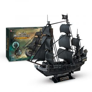 328 Pieces 1:95 Paper Scale Model Sailboat Ship, Pirates of the Caribbean Film Black Pearl Pirate Ship, Queen Anne's Revenge Pirate Ship, Cubicfun Toys (Cubic-Fun T4018h) Difficult level 3D Paper Puzzle