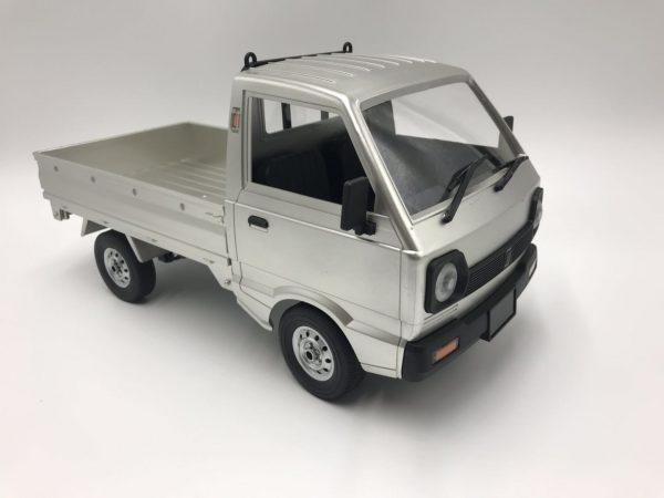 Silver RTR Remote Control Suzuki Carry Van Compact Pickup Truck, 1/10 Scale RC Japan Kei Truck / Kei Car, RC Suzuki Microvan Mounted Longitudinally Rear-mid Engine, Rear-wheel drive (RWD)