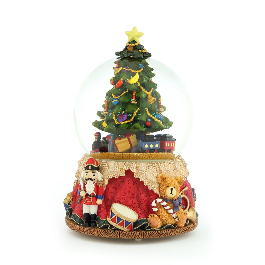 Christmas Train full of Christmas Gifts surrounds the Christmas Tree, Shining Snowflakes Flying, Red dress-shaped base, Decorated with Soldier in tuxedo, cute bear, snare drum. Musical Water Globe, Christmas Snow Globe (Crystal ball Snow Domes, Snowstorm) Lovely Gift, New Year Gifts, Winter Gifts, Christmas Gifts. Best For Decorative Collectibles