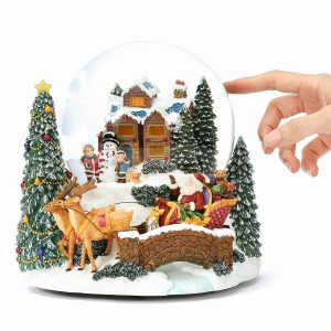 """Father Christmas Arrives, Happy little boy and little girl Making Snowmen with their Ouppies in front of a warm House. Christmas tree with LED lights"" Musical Water Globe, Christmas music bell Snow Globe (Crystal ball Snow Domes, Snowstorm) Lovely Gift, New Year Gifts, Winter Gifts, Christmas Gifts. Best For Decorative Collectibles"