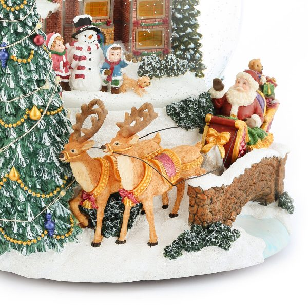 """""""Father Christmas Arrives, Happy little boy and little girl Making Snowmen with their Ouppies in front of a warm House. Christmas tree with LED lights"""" Musical Water Globe, Christmas music bell Snow Globe (Crystal ball Snow Domes, Snowstorm) Lovely Gift, New Year Gifts, Winter Gifts, Christmas Gifts. Best For Decorative Collectibles"""