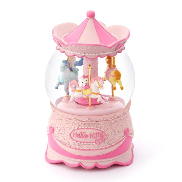 Hello Kitty Carousel (Merry-Go-Round) Musical Water Globe, Cute Pink Music (Musical) Box Carousel. (Snow Globe, Snow Domes, Snowstorm). Lovely Girl Gift, New Year Gifts, Winter Gifts, Christmas Gifts. Best For Decorative Collectibles