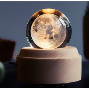 Planet Bubblegram Music Box, Laser Glass Sculpture of Moon, Vitrography Moon Laser Crystal Ball Musical Box, 3D Crystal Engraving Flowers Projection Lamp Music Box. (New Year Gifts, Christmas Gifts, Holiday Gifts, Night Light for Bedroom Decor)