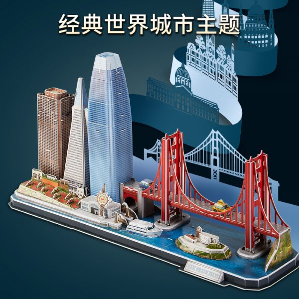 San Francisco City Skyline Famous Landmark Architecture 3D Paper Puzzle With LED Light, Transamerica Pyramid, Salesforce Tower (Transbay Tower), 555 California Street (formerly Bank of America Center), Skyscraper Paper Model Building Kits, Golden Gate Bridge, Alcatraz Island, Fisherman's Wharf, Fisherman's Restaurant Model Making Kits.