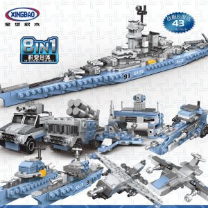 635 PCS 8 in 1, 25 Kinds MOC Ideas, War Game Model Kit, Boys Kids Child Military Army Military Vehicle, Fighter Plane, Battleship Playset Toy. USS Missouri Battleship XINGBAO 13004 Compatible Building Blocks Bricks