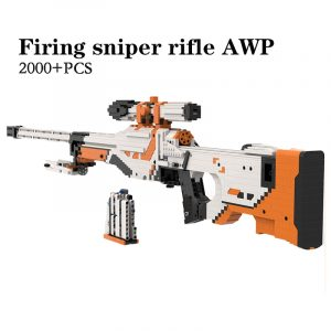 1:1 Scale CSGO Skins AWP Asiimov Custom Building Blocks Bricks Model, Compatible MOC Sniper Rifle, Gun Toy Building Blocks Set Assembly Ideas. Can Fire Building Block Bullets, Real Pull Rifle Bolt Bullet Loaded